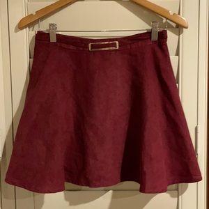 Alive girl burgundy mini flare skirt size 10